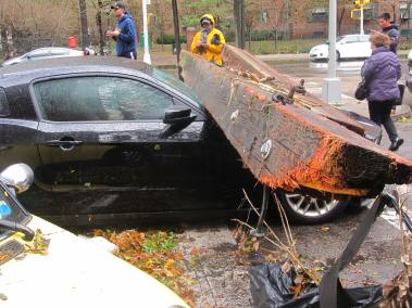 Car damaged by debris from the storm in Stuyvesant Town. (Photo by Ingrid Devita)
