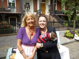GNA Board Member Carol Schachter with dog Trippe and Cathryn Duhigg, director of Cauz for Pawz