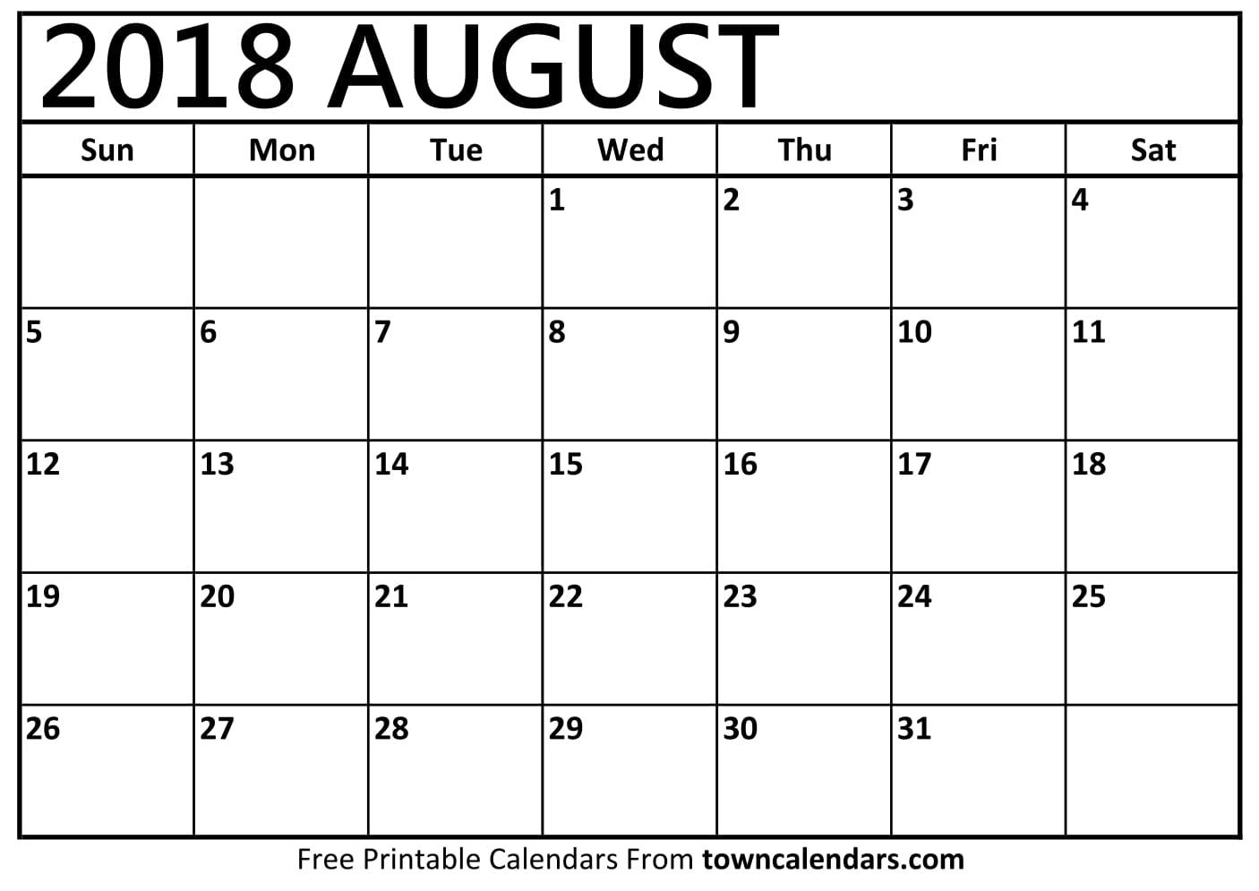Printable August Calendar