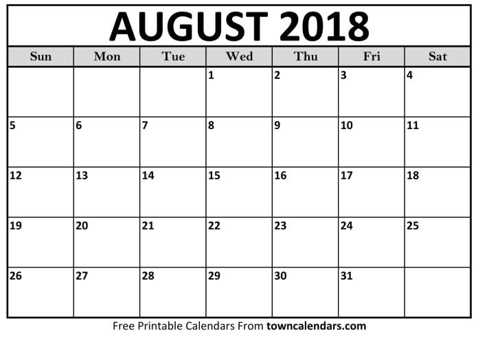 Calendar For August 2018 Free Download