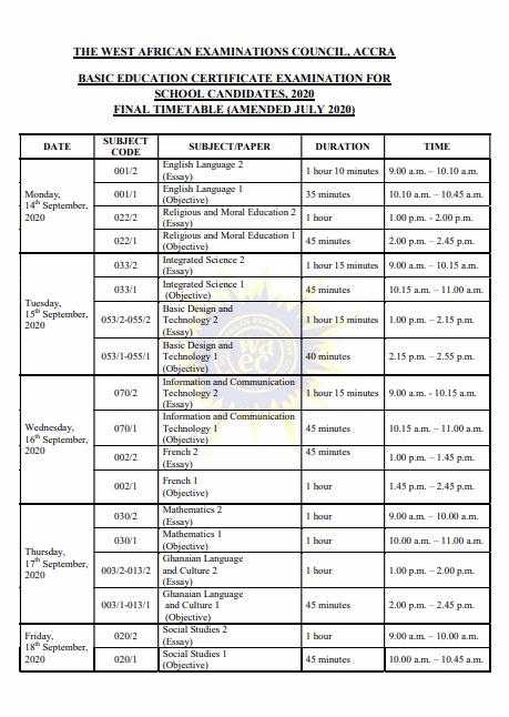 2020 BECE Timetable Below