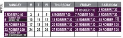 Robber Calendar