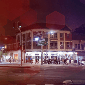 Night time shot of the Town Hall Hotel Newtown