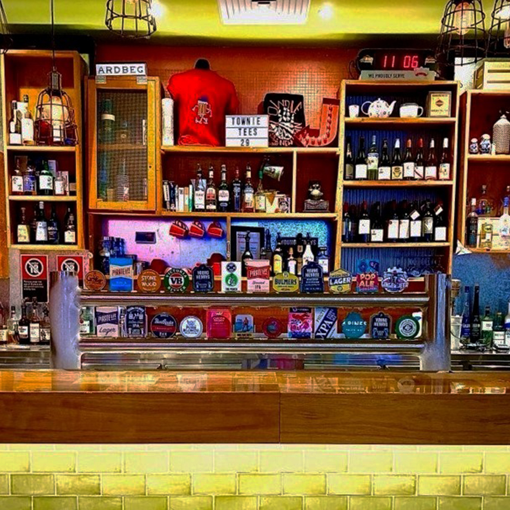 Picture shows the taps of the Main Bar at The Townie