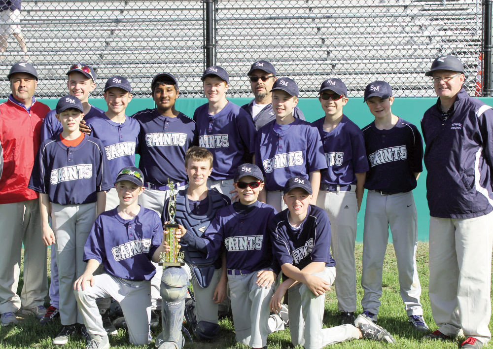 A combined team of players from St. Michael School, in Augusta, and Chelsea Middle School won the Sheepscot Valley Athletic Conference championship on June 8. St. Michael/Chelsea defeated Vassalboro, 6-0. The winning pitcher was Mitchell Tarrio, striking out 17 batters. He also led the offense with a triple and single, Kyle Douin and Bryton Kieltyka each had a double for the winners. The team is coached by David Tarrio and Jason Douin. Contributed photo