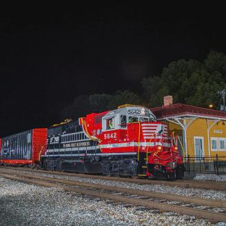 Depot at night with Train