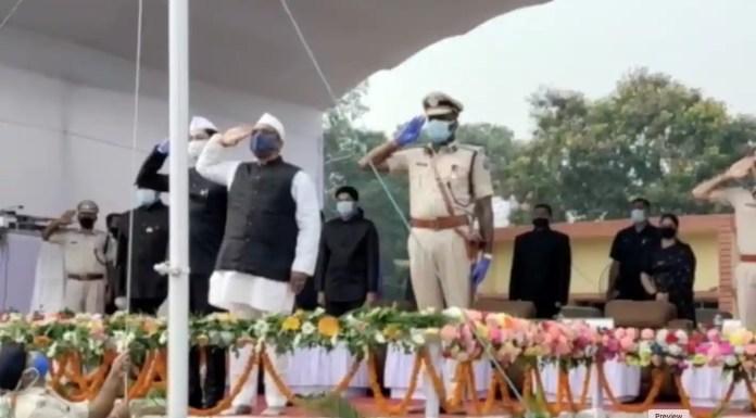 Health Minister salutes national flag after unfurling it at Gopal Maidan Jamshedpur
