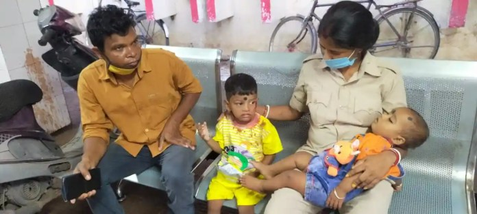 Police personnel taking care of children at MGMCH