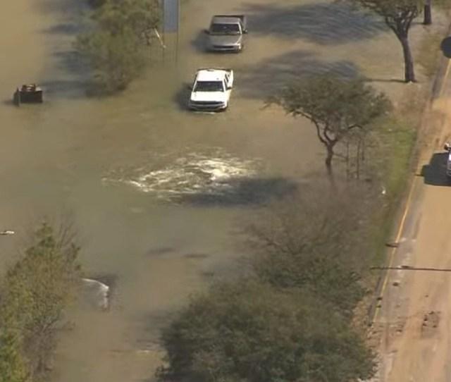Massive Water Main Break Causes Severe Flooding In Houston