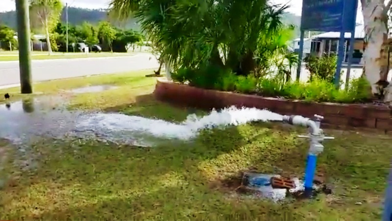 Kirwan site where Townsville Water was caught hosing water in to the street