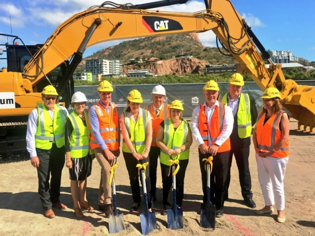 Northern Australia - Local, State and Federal Government Ministers and Stakeholders stand ready to turn the first sod of soil on the new $250 million North Queensland Stadium