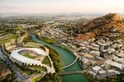 Northern Australia's North Queensland Stadium concept illustration on the banks of Ross River in the Waterfront Priority Development Area of Townsville City