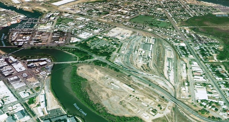 Townsville Commercial Property Tycoon - Satellite view of the old freight railway yards acquired by Honeycombs with site of North Queensland Stadium on the bank of Ross Creek in foreground