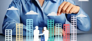 Selling your business - Characters of business owners shaking hands while man moves the value in the cloud.