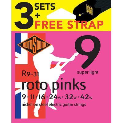 R9 guitar strings 3-pack