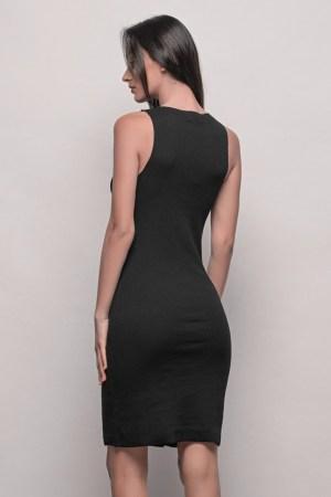 Μαύρο Φόρεμα Midi Ριπ
