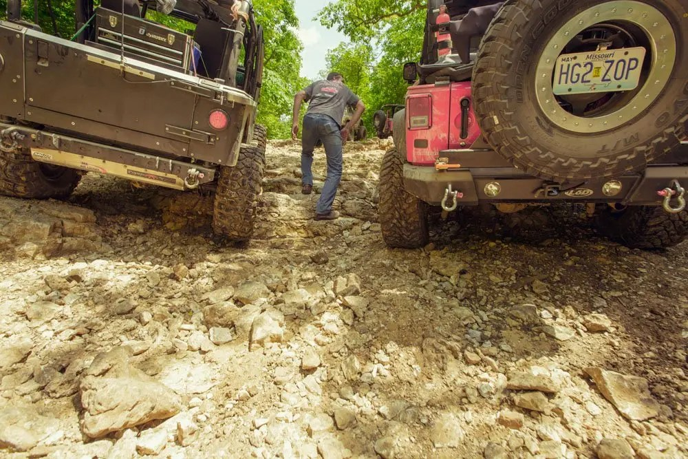 Sometimes the Jeep's traverse the trail better than we can on foot
