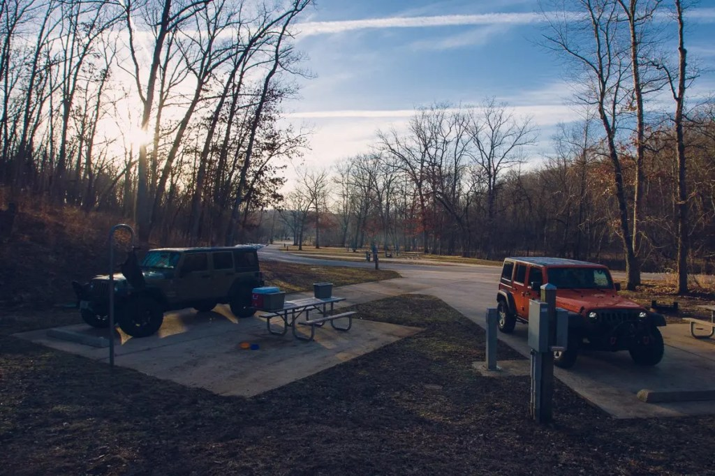 Sunrise over our Jeeps