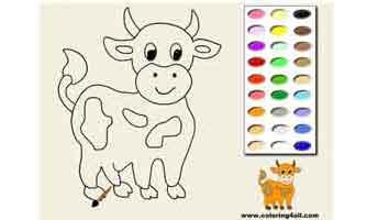Корова: Раскраски для малышей