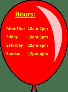 Toy House Hours Mon-Thu 10a-7p, Fri 10a-9p, Sat 10a-5p, Sun 12p-4p