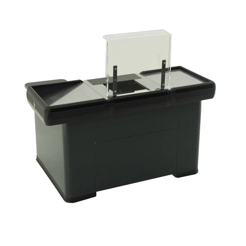 Kleine Kasse für Express Checkout Farbei schwarz anthrazit mit Edelstahl Warenwanne