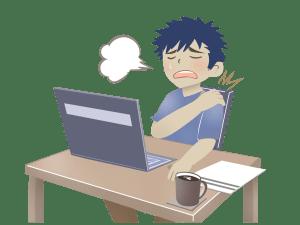 PCで疲れた会社員