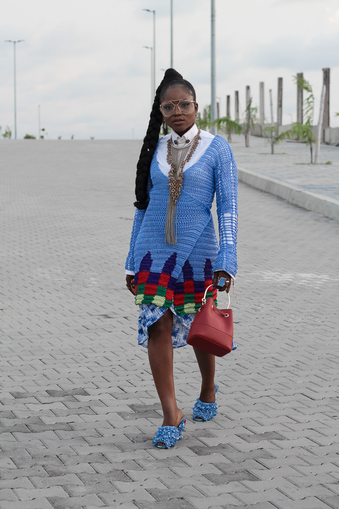 heineken lagos fashion and design week 2017 , what i wore ,knit jacket ,knitsandimo ,edwin okolo ,high fashion styling ,styling jacket ,white and blue ,how to layer neckpiece