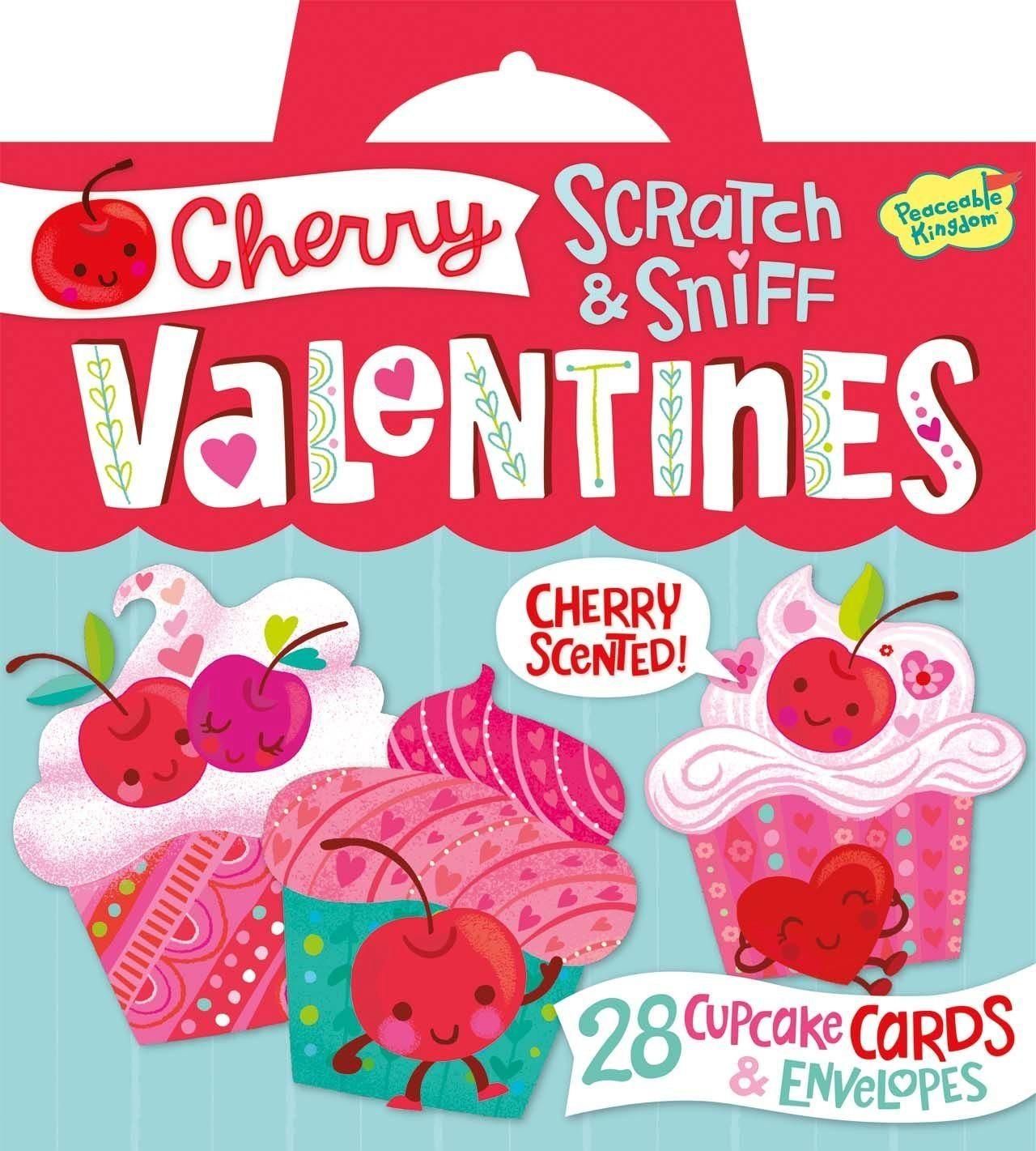 71QKM koUGL. SL1421  - Peaceable Kingdom Cherry Cupcake Scratch and Sniff Super Valentines Card Pack