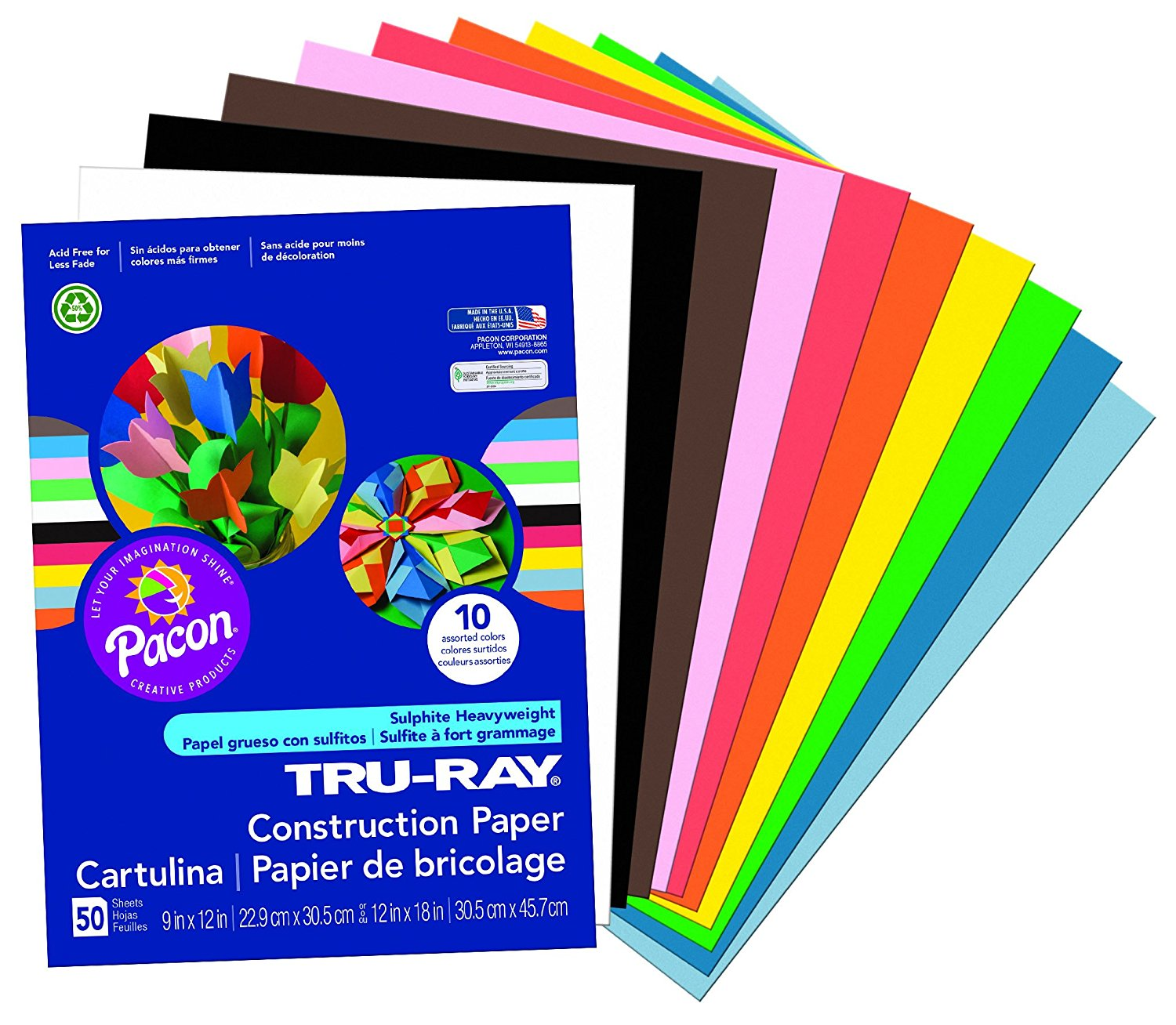 814SaUa0aDL. SL1500  - Pacon Tru-Ray Construction Paper, 9-Inches by 12-Inches, 50-Count, Assorted (103031)