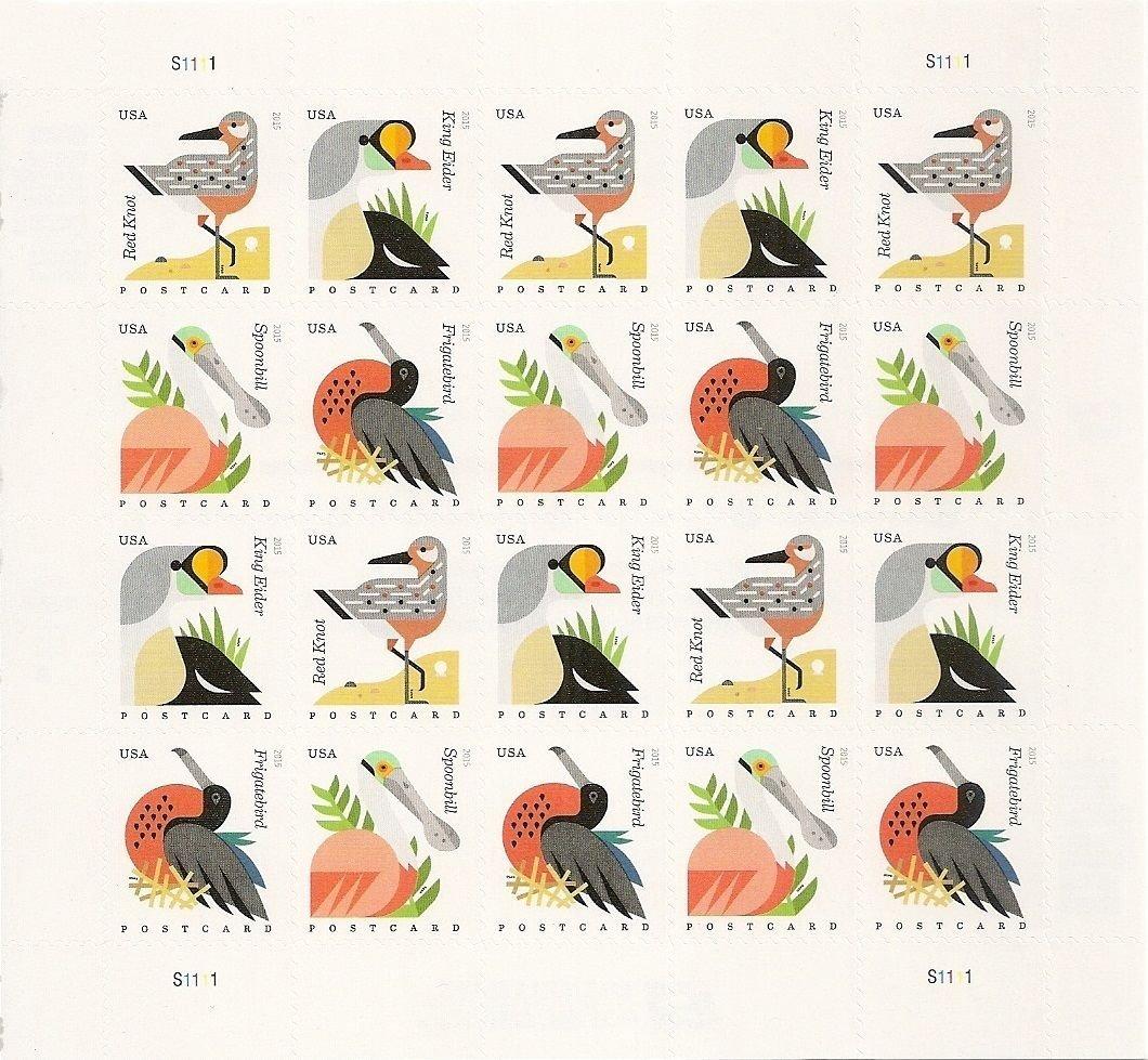 71 9WFwXQhL. SL1060  - Coastal Birds Stamps Sheet of 20 Postcard Forever U.S. Postage Stamps USPS