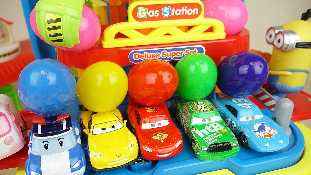 Cars station and surprise eggs car toys play - Cars station and surprise eggs car toys play