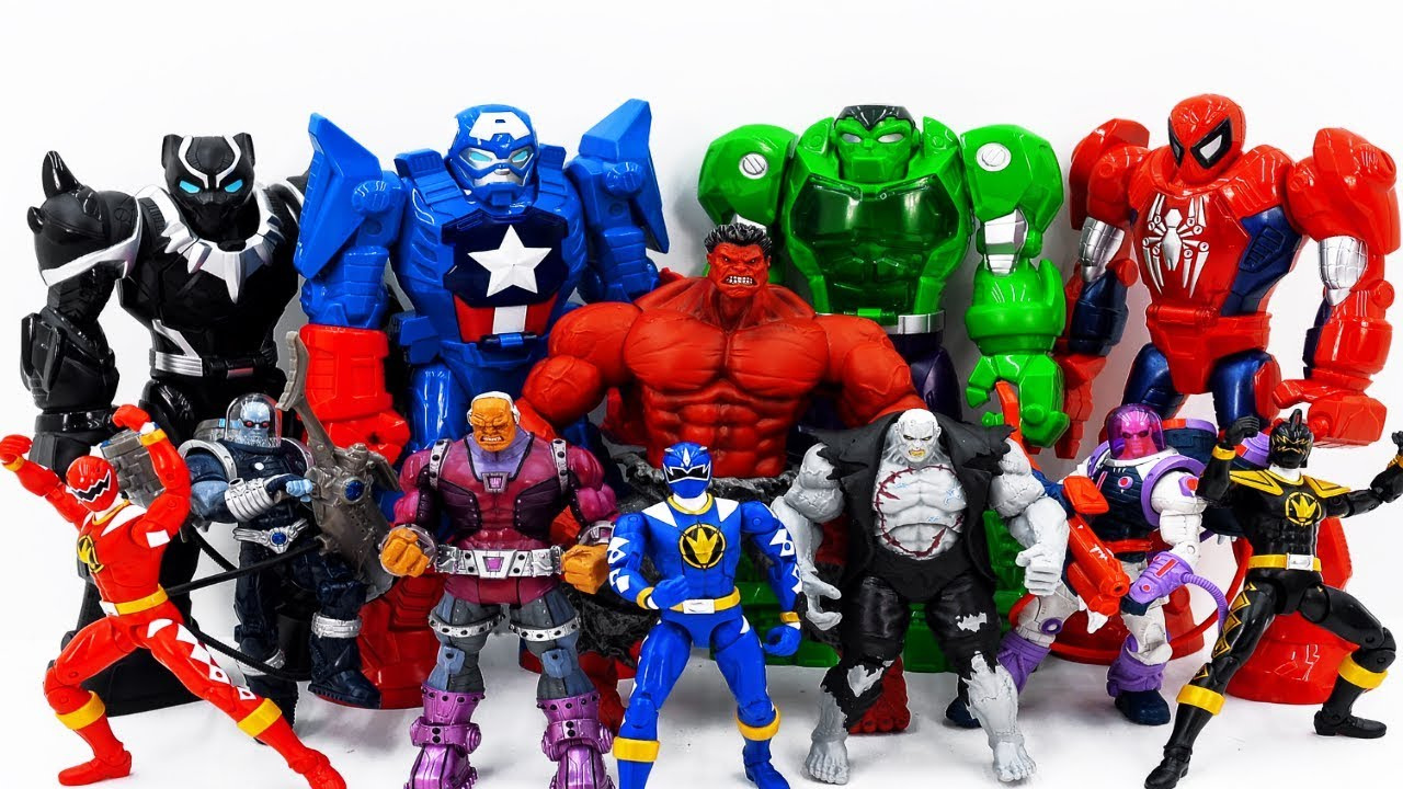 Power Rangers Marvel Avengers Toys Pretend Play Defeat Darkseid. Red Hulk Smash Superhero Battle - Power Rangers & Marvel Avengers Toys Pretend Play   Defeat Darkseid. Red Hulk Smash Superhero Battle