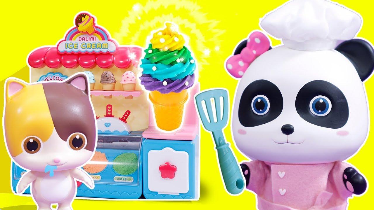 Panda Miumiu Ice Cream Shop Play Play Doh Learn Colors Kiki and Miumiu Cooking Toys ToyBus - Panda Miumiu Ice Cream Shop Play | Play Doh | Learn Colors | Kiki and Miumiu | Cooking Toys | ToyBus