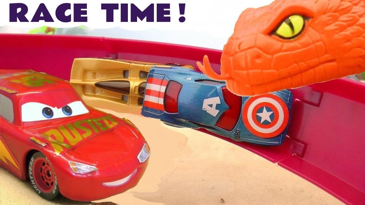 Disney Cars Toys Lightning McQueen vehicle race time with Hot Wheels Superhero cars TT4U - Disney Cars Toys Lightning McQueen vehicle race time with Hot Wheels Superhero cars TT4U
