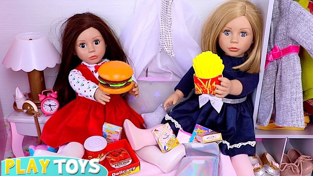 Bonnie and Pearl Sleepover Slumber Party with Snack Food Toys - Bonnie and Pearl Sleepover Slumber Party with Snack Food Toys!
