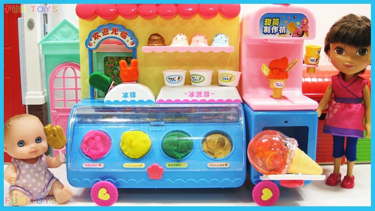 vbp 11936 Play doh and Baby Doll Ice Cream car toys play video for kids - Play doh and Baby Doll Ice Cream car toys play ? video for kids