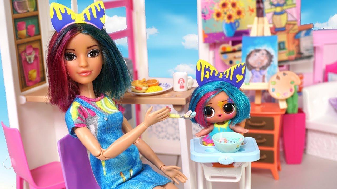 Barbie Doll LOL Splatters Family School Morning Routine Barbie Classroom Toy - Barbie Doll LOL Splatters Family School Morning Routine - Barbie Classroom Toy