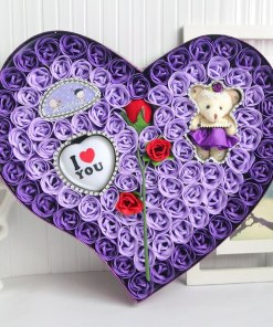 New Pcs lot Flower Soap Rose Storage Box with Heart Shape Night Light Birthday Gift Bear