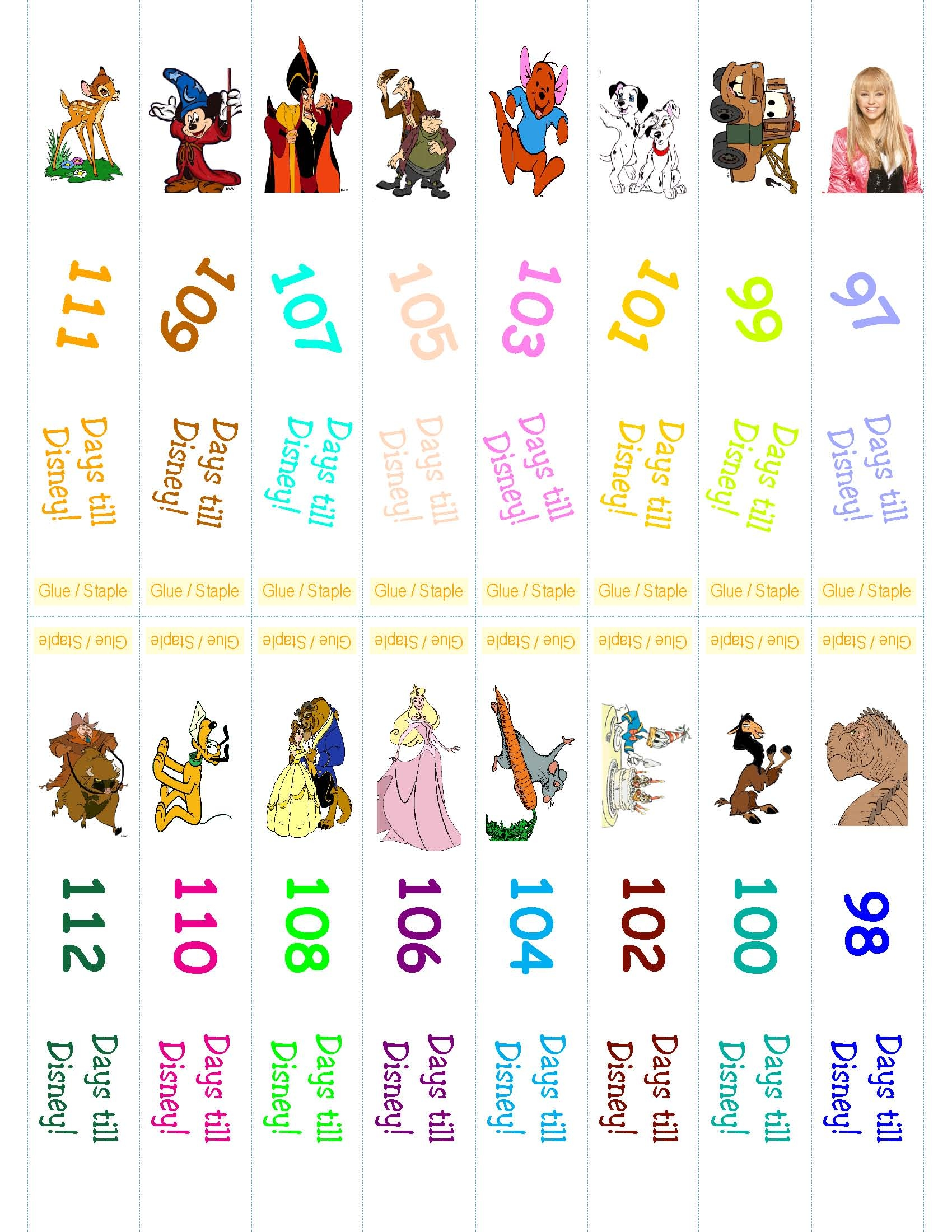 graphic relating to Disney Countdown Printable titled Disney Countdown Ring