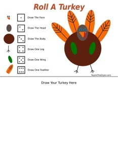 Roll A Turkey Thanksgiving Game