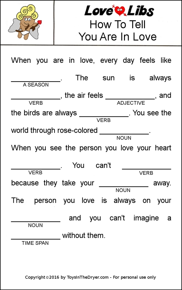 photo relating to Printable Mad Libs called Absolutely free Printable Get pleasure from Libs Valentines - Toys Within just The Dryer