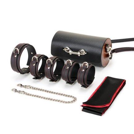Secret – 皮革束縛調教套裝連小圓桶手提包 – 雙扣款