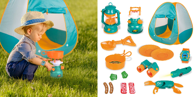 Kids Play Tent:  Pop Up Tent with Kids Camping Gear Set