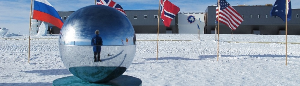 Ceremonial pole in front of South Pole Station