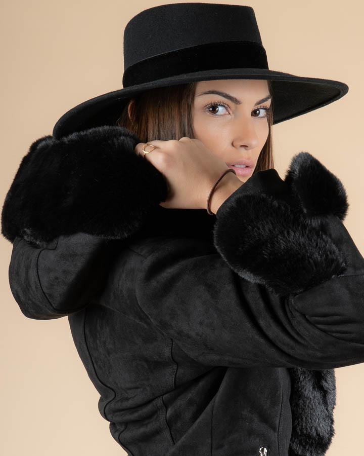 Veste femme en fausse fourrure noire