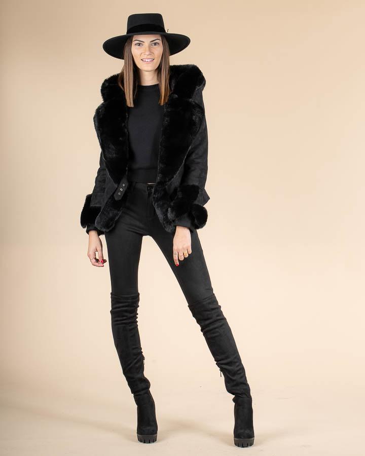 Femme veste fausse fourrure noire
