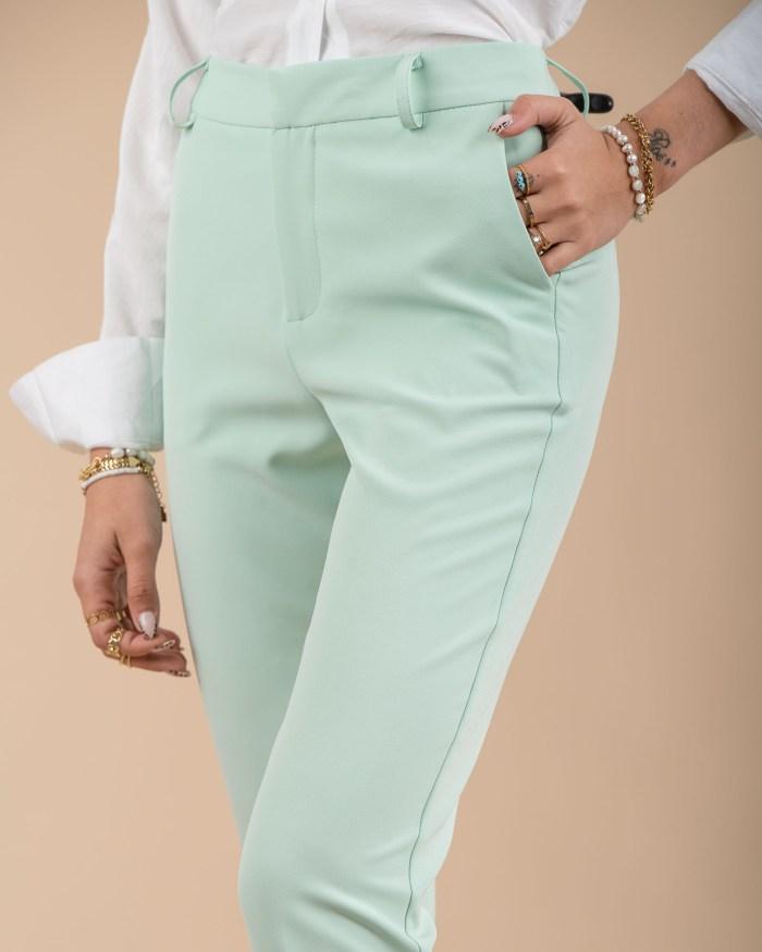 Pantalon tailleur taille haute vert d'eau