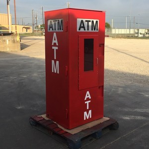 TPI Outdoor ATM Security Kiosk Enclosure in Red - Universal with Integrated Topper