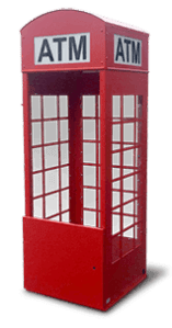Mobile ATM Security Enclosure shaped like a British Phone booth