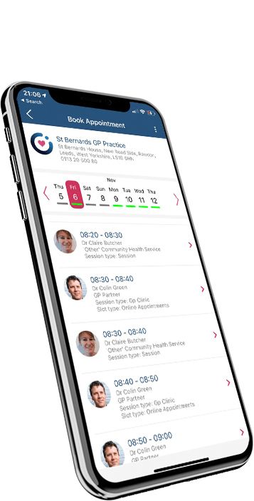 Image of list of online appointments shown on a phone screen